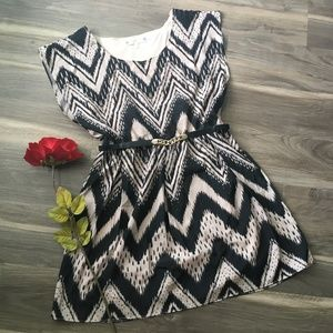 Almost Famous Black & Taupe Belted Dress